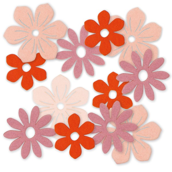Blüten aus Filz als Deko für Frühjahr und Sommer.