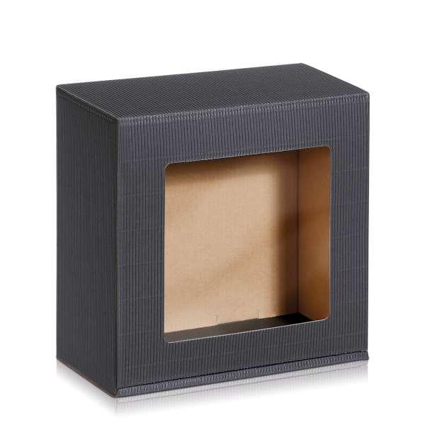 Geschenkbox in offener Welle Anthrazit mit Sichtfenster.