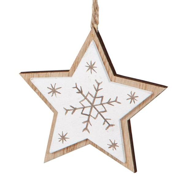 Deko-Anhänger Stern Natur-Weiß aus Holz